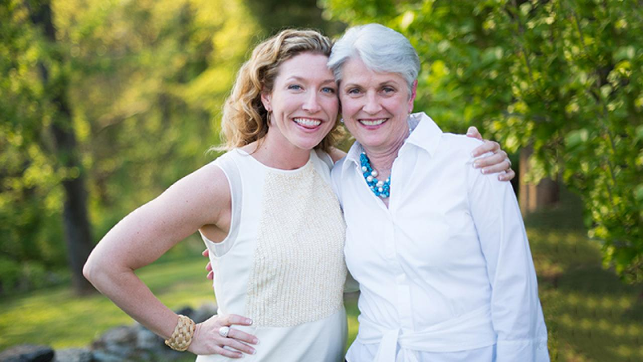 Lynn Cox poses with her mother.