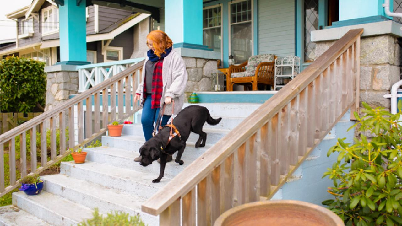 Woman walking down the front stairs of her house with her guide dog.