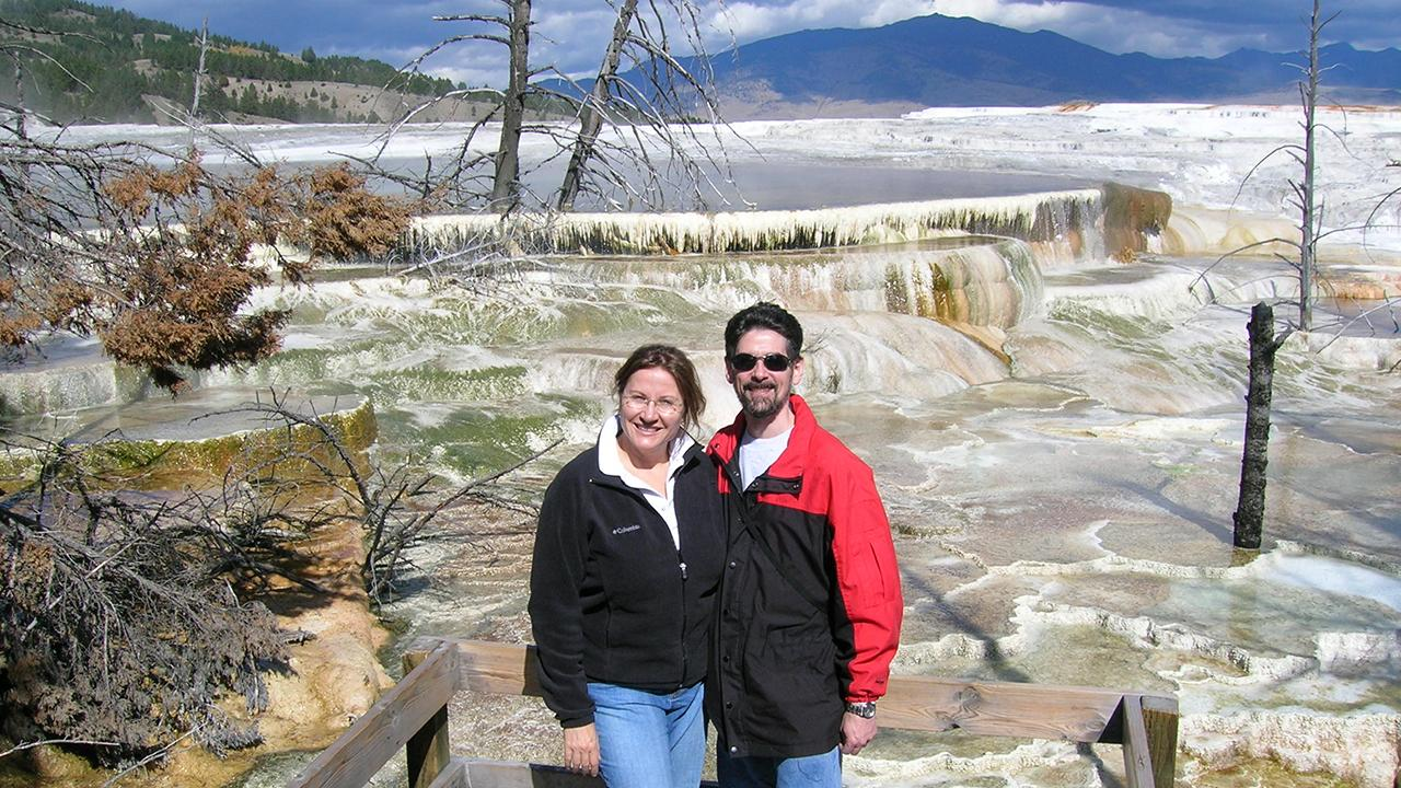 Ken Burns with his wife Mary at Yellowstone National Park