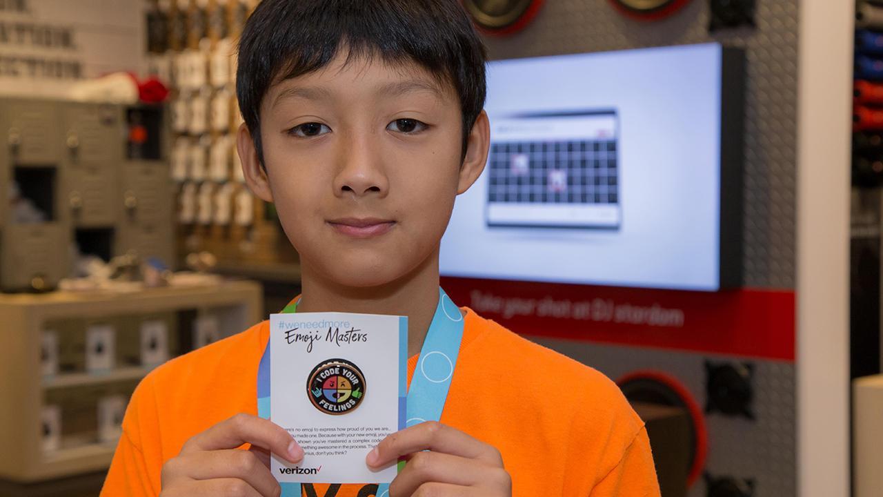Ryan showing off his emoji masters badge