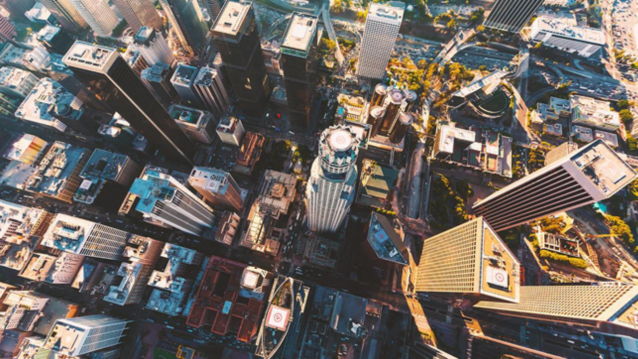 Smart city aerial shot