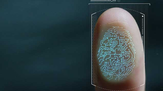 Digital scan of a fingerprint used to obtain biometric data