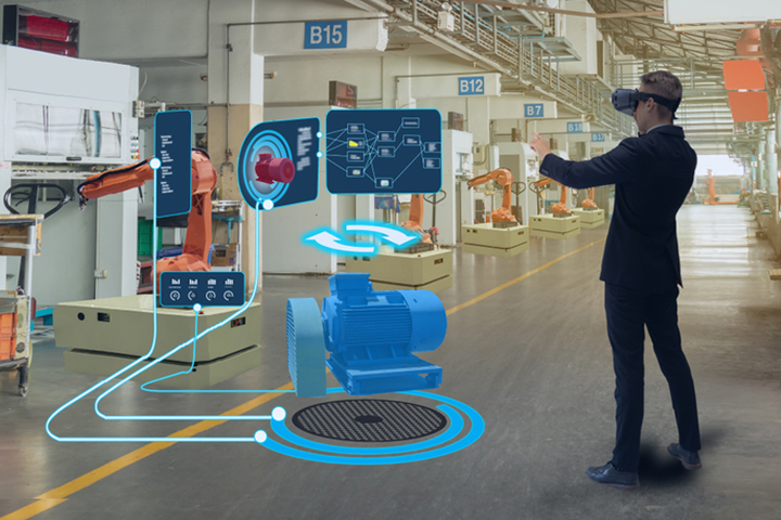 Man using futuristic technology in warehouse