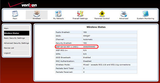 How to Find Your Networks SSID and WEP Key   Verizon