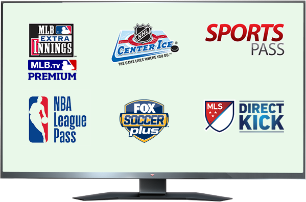MLB EXTRA INNINGS, Center Ice, Sports Pass, NBA League Pass, Fox Soccer y MLS DIRECT KICK