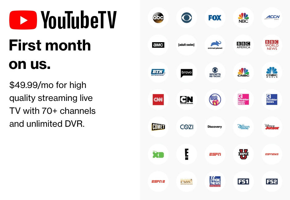 YouTube TV First month on us.