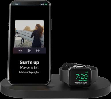 Smartphone y reloj inteligente con reproductor de música