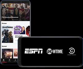 Pantalla azul con logotipos de los canales de TV por cable.
