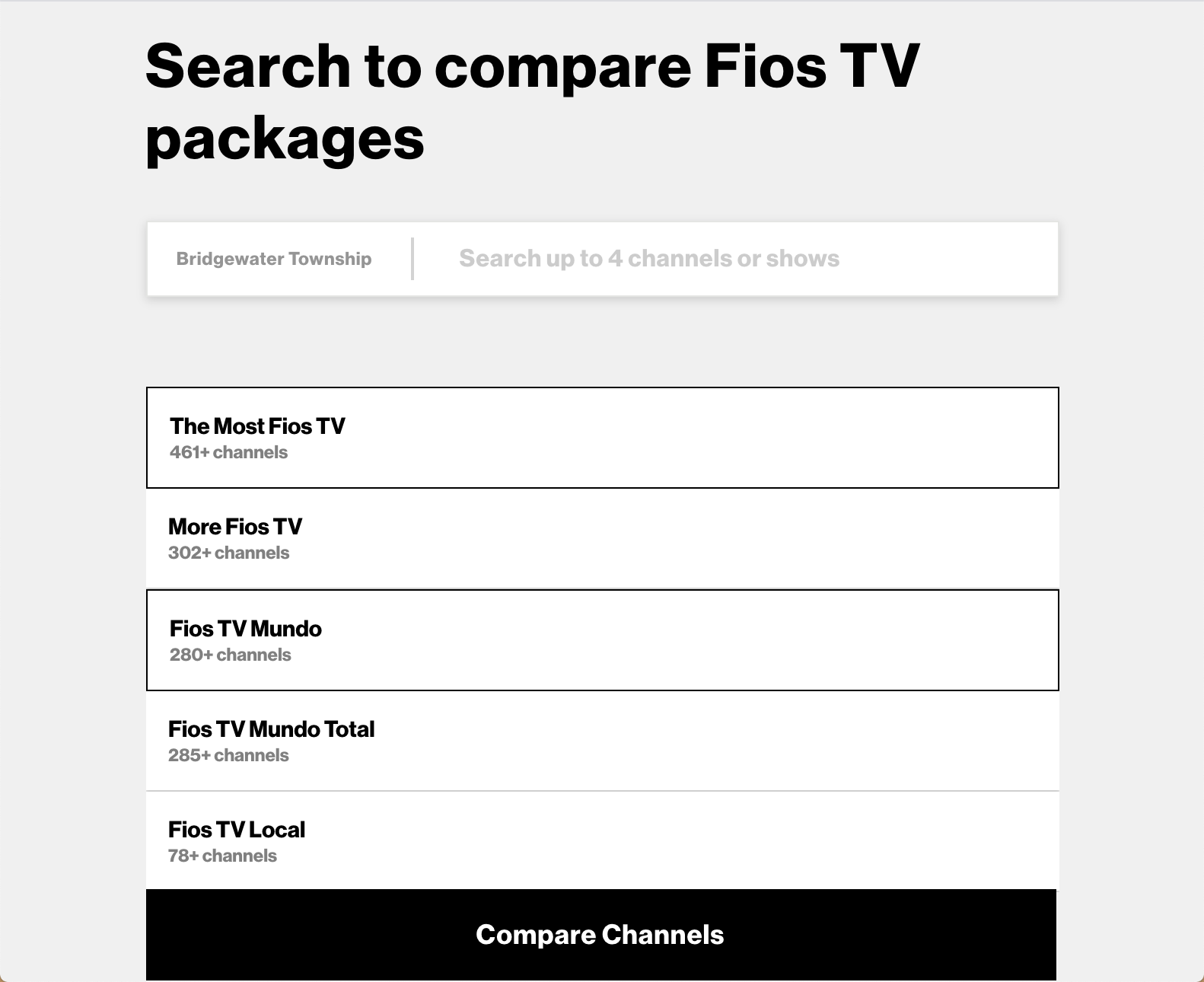 Step 1 of the Fios channel lineup tool