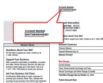 verizon wireless account number