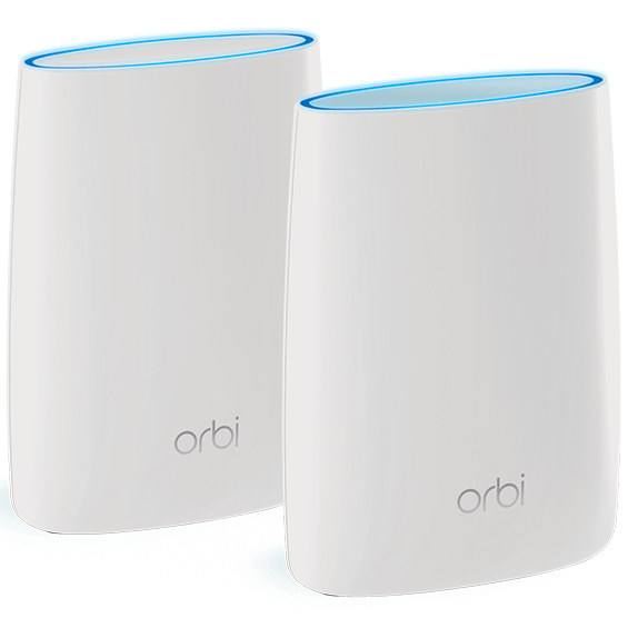 Front right angle view of a router and satellite Netgear Orbi device
