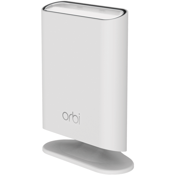 Front angle view of the Netgear Orbi  Add-on Outdoor Satellite on stand