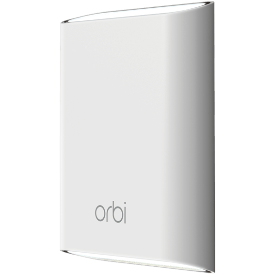 Front angle view of the Netgear Orbi  Add-on Outdoor Satellite mounted without stand