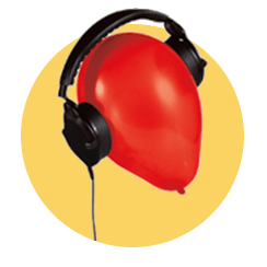 Black headset on red ballon in gold bubble