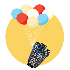 Colorful ballons and remote controls in gold bubble