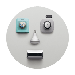Multiple smart devices in grey bubble