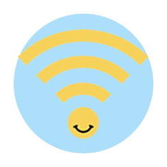 Wi-fi symbol in blue bubble