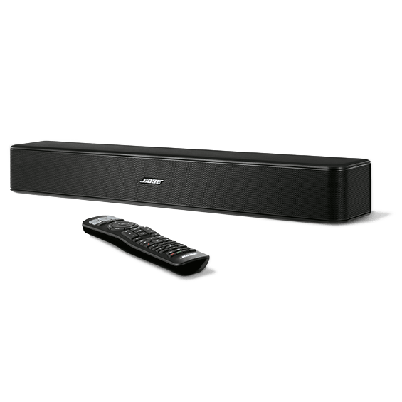 Bose Solo 5 TV Sound System front angle left view with remote