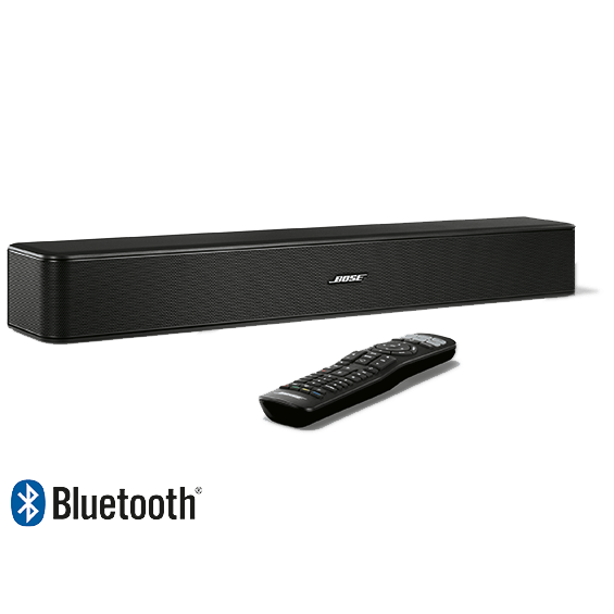 Bose Solo 5 TV Sound System front angle right view with Bluetooth remote