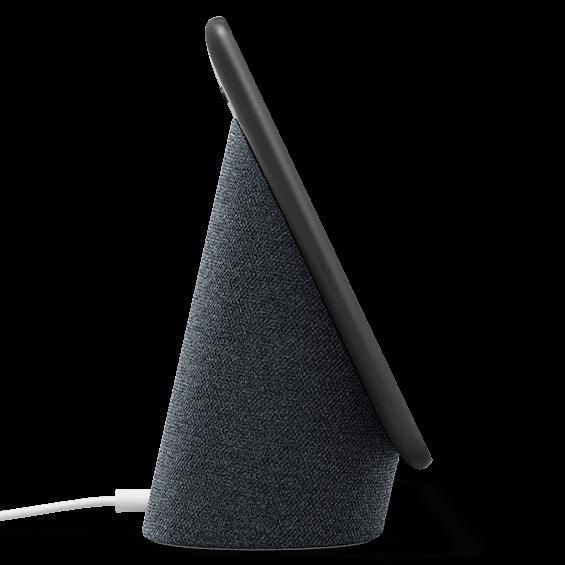 Vista izquierda del producto Google Nest Hub Max, carbón