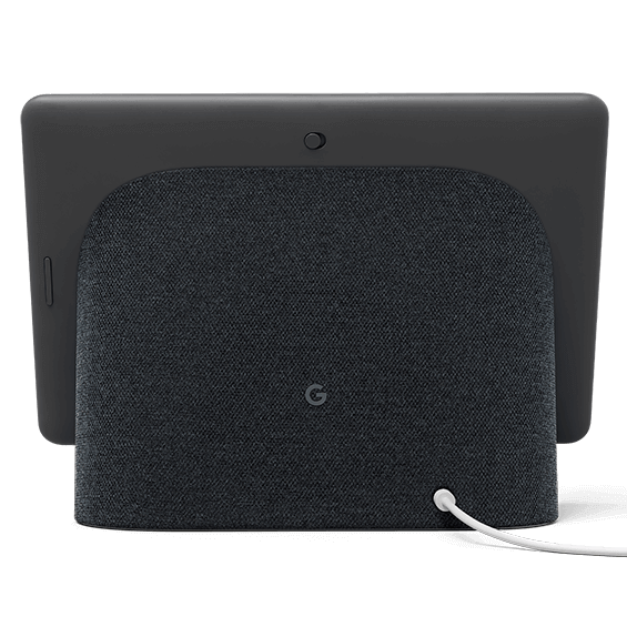 Vista trasera del producto Google Nest Hub Max, carbón