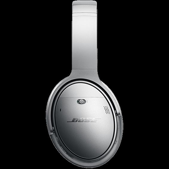 Side view of the silver Bose QuietComfort 35 Wireless Headphones II