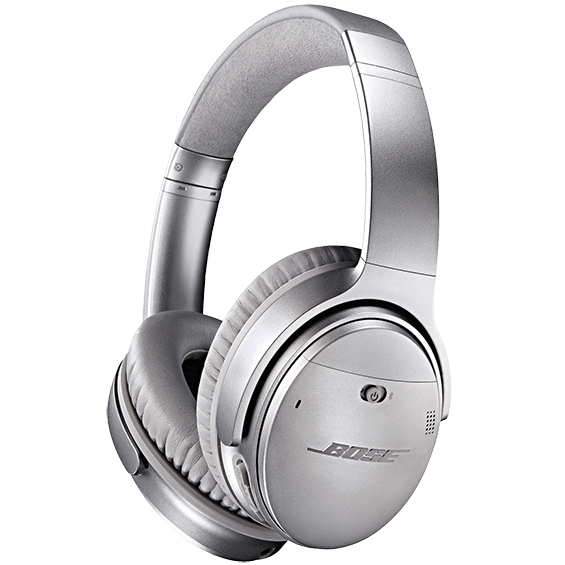 Side angle view of the silver Bose QuietComfort 35 Wireless Headphones II
