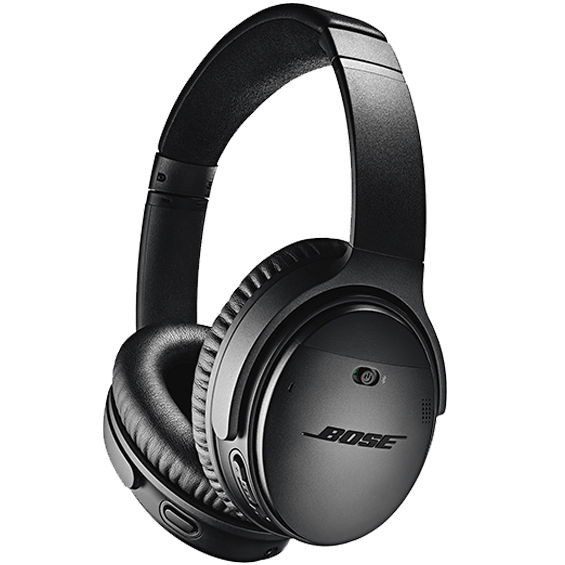 Side angle view of the black Bose QuietComfort 35 Wireless Headphones II