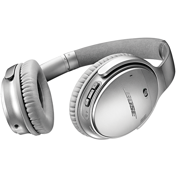 Right bottom angle view of the silver Bose QuietComfort 35 Wireless Headphones II