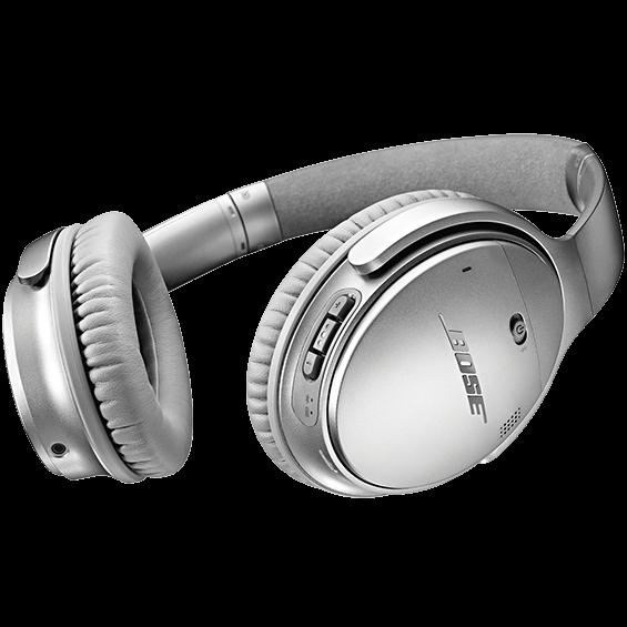 Imagen del ángulo inferior derecho de losaudífonos inalámbricosBose QuietComfort35II en plateado