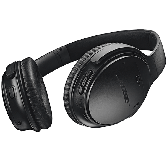 Right bottom angle view of the black Bose QuietComfort 35 Wireless Headphones II
