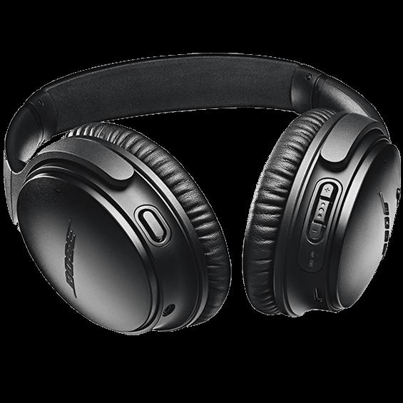 Imagen de ángulo inferior izquierdo de los audífonos inalámbricos Bose QuietComfort 35 II, negro