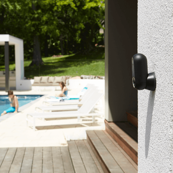 Mounted by the pool view of Canary Flex Security Camera - Black