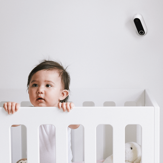 Mounted over crib view of Canary Flex Security Camera - White