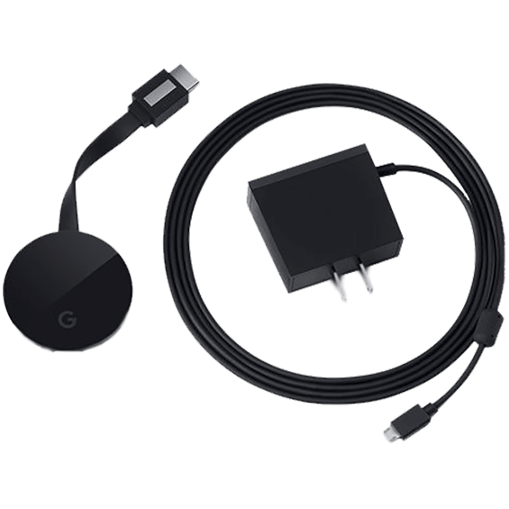 View of the Google Chromecast Ultra with power adapter