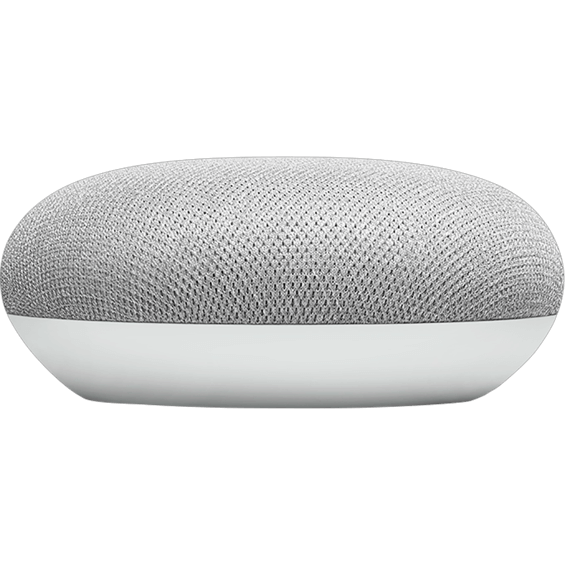 Top angle view of Google Home Mini with cord - Chalk