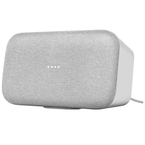 Front right angle horizontal view of Google Home Max - Chalk