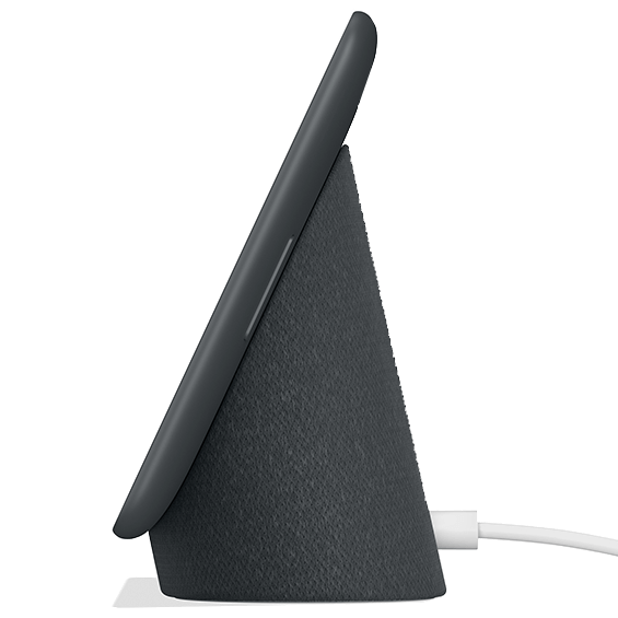 Right side view of the Google Home Hub in Charcoal