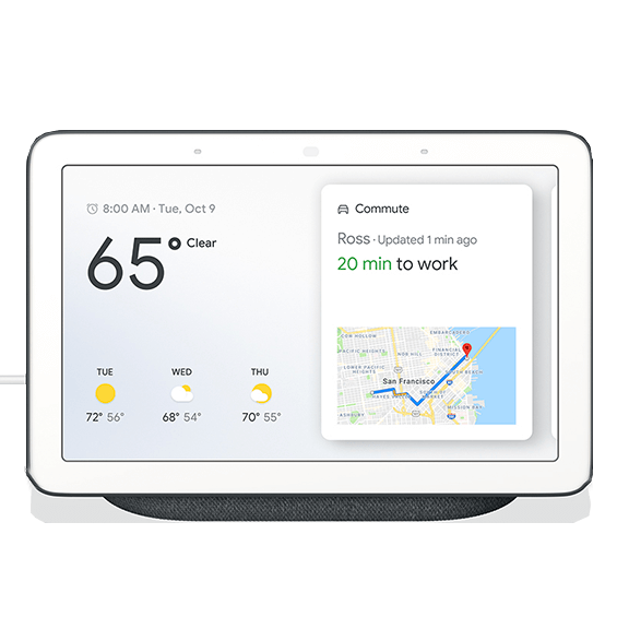 Front view of the Google Home Hub in Charcoal