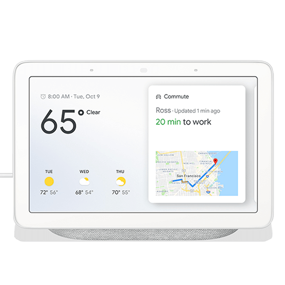 Front view of the Google Home Hub in Chalk