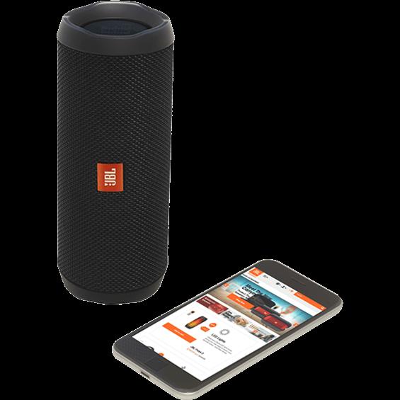 Altavoz JBL Flip 4 negro - Vista frontal con teléfono móvil