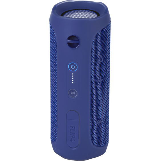 Back view of Blue JBL Flip 4 Speaker