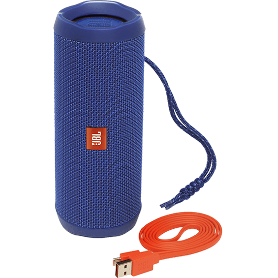 Front view of Blue JBL Flip 4 Speaker with cable