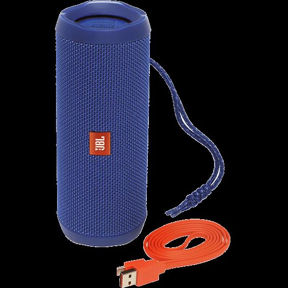 Altavoz JBL Flip 4 azul - Vista frontal con cable