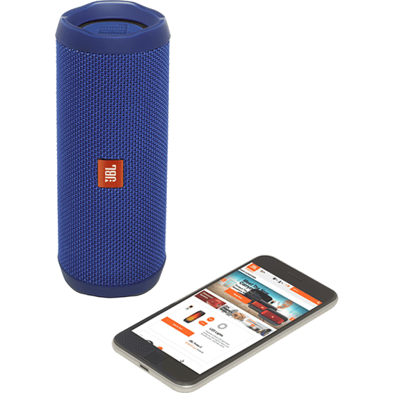 Front view of Blue JBL Flip 4 Speaker with mobile phone