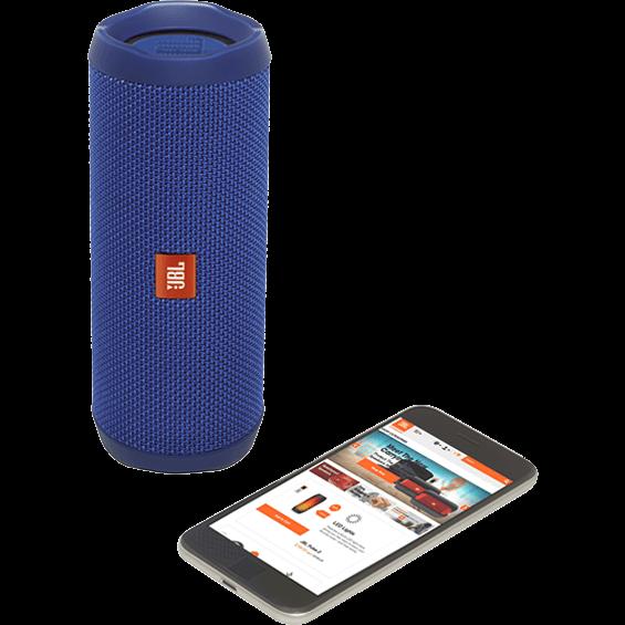 Altavoz JBL Flip 4 azul - Vista frontal con teléfono móvil