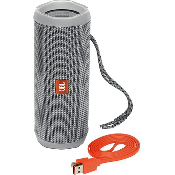 Front view of Gray JBL Flip 4 Speaker with cable