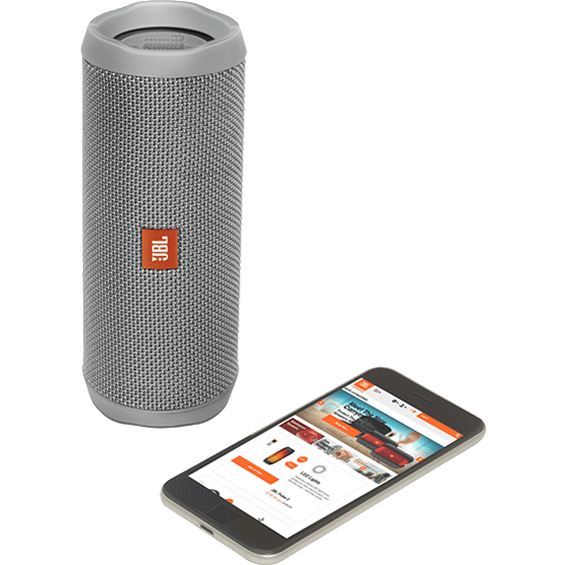 Front view of Gray JBL Flip 4 Speaker with mobile phone