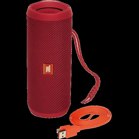 Altavoz JBL Flip 4 rojo con cable - Vista frontal