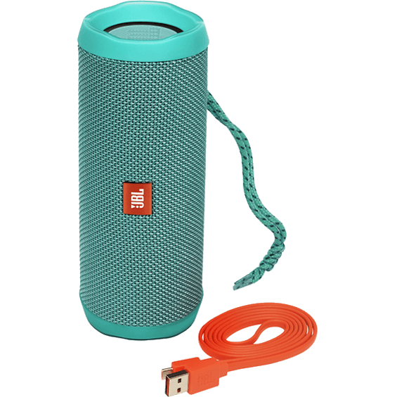 Front view of Teal JBL Flip 4 Speaker with cable